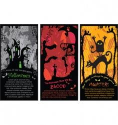 Set vertical halloween banners vector