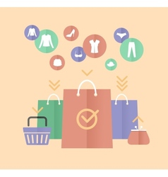 Shopping bags and clothes flat concept vector