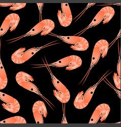 Shrimp seamless pattern flat gradient sea food vector