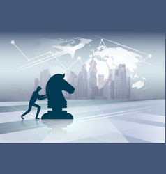 silhouette business man pushing cess figure new vector image