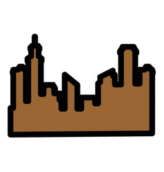 Silhouette of city buildings icon vector