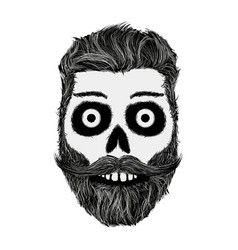 Sketch of human skull with a mustache and beard vector