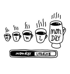 Small medium large monday funny concept hand vector