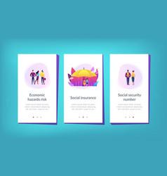 Social insurance app interface template vector