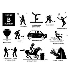 Sport games alphabet b icons pictograph badminton vector