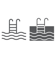 swimming pool line and glyph icon diving vector image