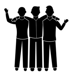 three friend brotherhood icon simple style vector image