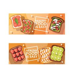 Toast sandwich healthy toasted food with vector