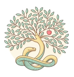 Tree of the knowledge of good and evil with snake vector