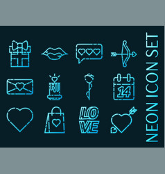 Valentine day set icons blue glowing neon style vector