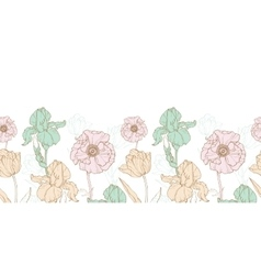 vintage flowers pastel horizontal border vector image