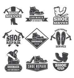 Vintage monochrome labels and logos for shoe vector