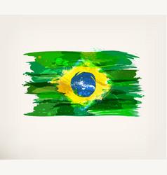 watercolor hand drawn brazilian flag vector image
