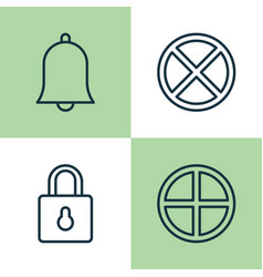 Web icons set collection of exit positive bell vector