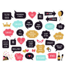 wedding photobooth props bride and groom party vector image