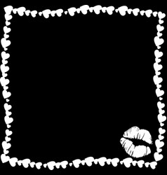 white vintage hearts border with kiss mark vector image