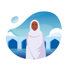 Woman pilgrim hajj day dhul hijjah vector