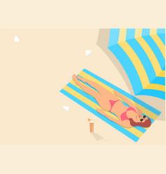 woman sunbathing in pink bikini vector image