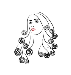 Woman with beautiful hair vector image
