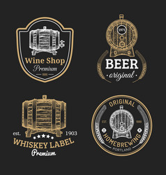 wooden barrels collection for alcohol drinks icons vector image