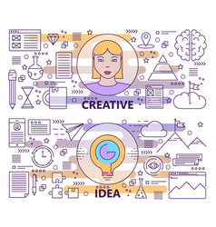set of modern thin line creative idea vector image