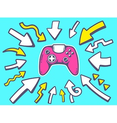 arrows point to icon of joystick on blue vector image