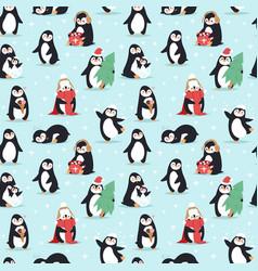 Christmas penguins seamless pattern vector