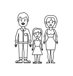 figure couple with their daughter icon vector image vector image