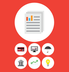 Flat icon finance set of document parasol chart vector