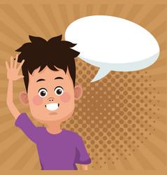 kid boy cartoon with blank speech bubble vector image