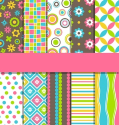 Set of 10 seamless bright fun abstract patterns vector image vector image