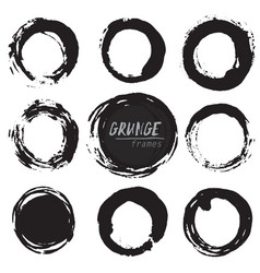 set of round grunge shapes vector image