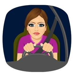 Sleepy female driver dozing off while driving vector