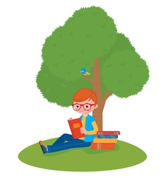 Boy reading a book sitting under a tree vector image vector image