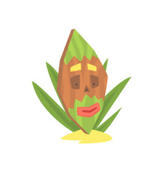 hawaiian tiki mask tribal totem cartoon vector image
