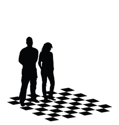 man and girl on chess table vector image