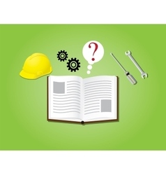 manual instruction book with books gear helmet vector image