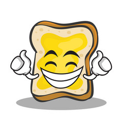 proud face bread character cartoon vector image vector image