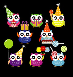 Set of Party Owls vector image