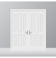white closed door with frame isolated vector image