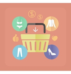 shopping bags and clothes flat concept vector image