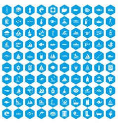 100 water icons set blue vector image