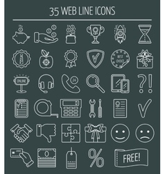 35 linear web design icons Line icons for vector image