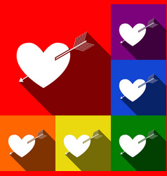 arrow heart sign set of icons with flat vector image