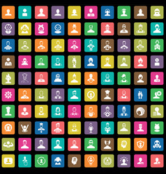 avatar 100 icons universal set for web and ui vector image