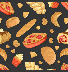 baking products seamless pattern fresh baked vector image