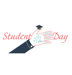 Banner on students day line vector