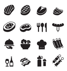 Basic steak icons set vector