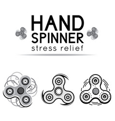 Black and white hand spinner fidget toy vector