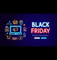 black friday neon banner design vector image